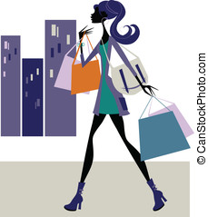 Chic Shopper - Chic lady shopping in the city- silhouette...
