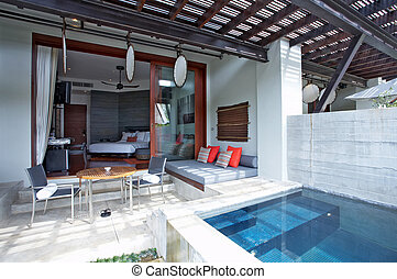 patio - image of nice modern summer house with swimming pool...