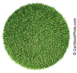 Environment: green fresh grass globe or planet isolated