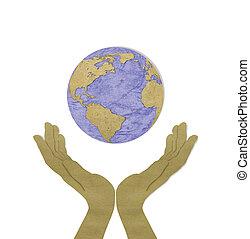 concetto, eco, :, taglio, due, mano, riciclato, carta,...