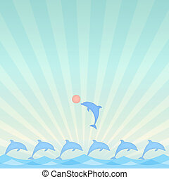 dolphin - cheerful dolphin playing ball over sea background