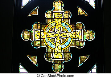 Stained Glass Window - Stained glass window in the shape of...