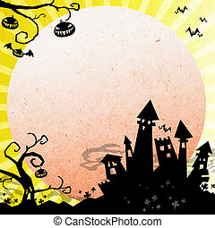 halloween background - halloween night with castleand moon...
