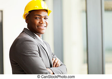 african american construction manager in office