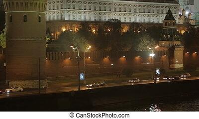 night Kremlin Embankment panorama - night view on the...