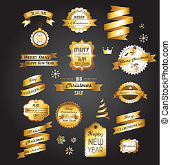 Christmas gold vintage labels, elements and illustrations