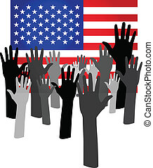 Many hands up over USA flag (Vote for USA concept)