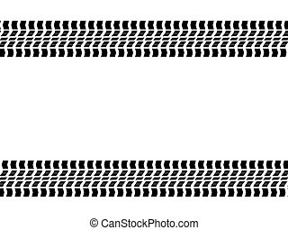 Tyre Tracks - Tyre track isolated against a white background