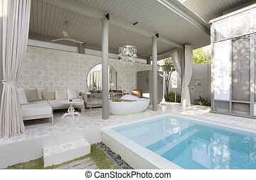 patio - Fragment like image of nice modern summer pool...