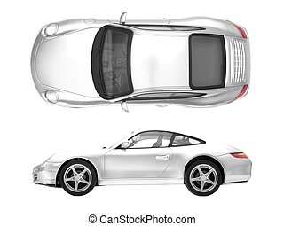 Sports Car - A toy sports car isolated against a white...