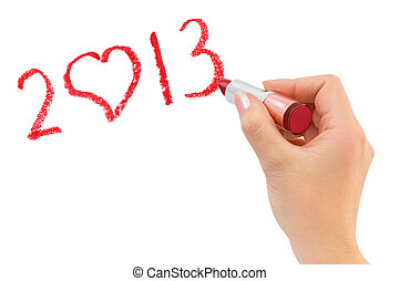Hand with lipstick drawing 2013 isolated on white background