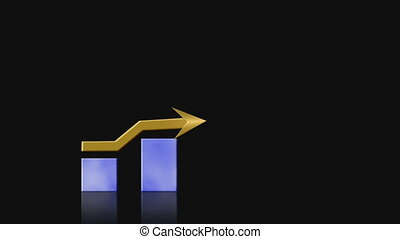 Growth bar graph on black - Animated bar graph shows upward...