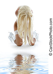 white boots girl on sand