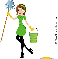 House Keeper - Cleaning Woman with Mop and Bucket