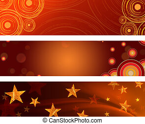 christmas banners - abstract red and brown backgrounds with...