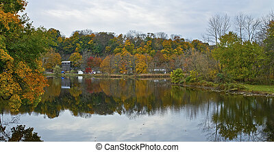 Raritan River Panorama - A panoramic Autumn scene along the...