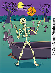 Skeleton - Cartoon illustration of a skeleton playing with...