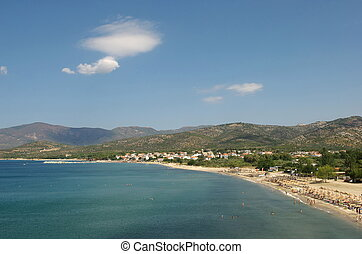 Potos Thassos - Beach in summer with clean water and clear...