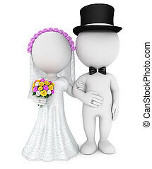 3d white people just married couple, isolated white...