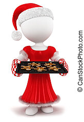 3d white people gingerbread - 3d white people woman with...