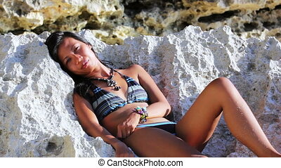 Sunbathing and Tanning at Exotic Beach - Sexy Asian Girl at...
