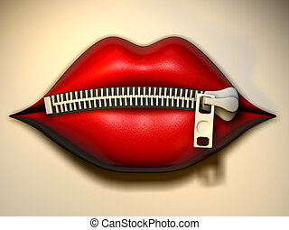 Lips zipper 2 - Illustration - conceptual lips with zipper -...