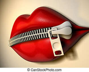 Dumb lips 1 - Illustration - conceptual lips with zipper -...