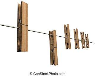 Pegs - Clothes pegs on a washing line - 3d render