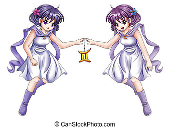 Gemini - Manga style illustration of zodiac symbol, Gemini