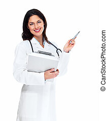 Smiling medical doctor woman with stethoscope Isolated over...