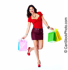 Shopping woman. - Shopping woman with bags isolated on white...