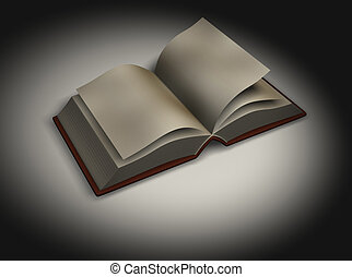 Book 1 - 3d rendering of an opened book on spot light