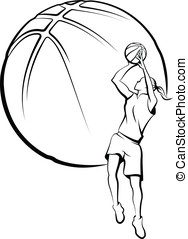 Girl Basketball Player Shooting - Vector illustration of a...