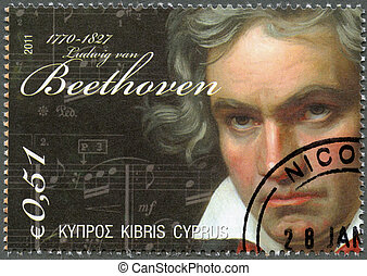 CYPRUS - 2011 : shows Ludwig van Beethoven 1770-1827 -...
