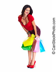 Shopping woman. - Shopping woman with a bags isolated on...