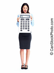 Accountant business woman with calculator.