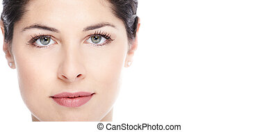 Beautiful woman face - Beautiful young woman face Isolated...