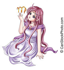 Virgo - Manga style illustration of zodiac symbol, Virgo