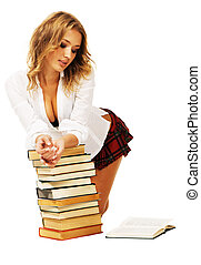 Lovely student - Sexy student girl with a stack of books
