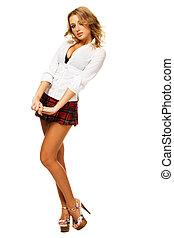 Lovely sexy girl in checkered short skirt on white...