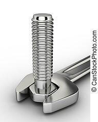 Wrench 14 - A wrench and a bolt on white background - 3d...