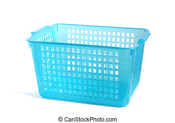 Blue plastic basket on a white background