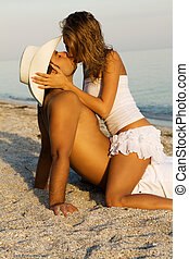 Young passionate couple on the seaside - Young couple in...