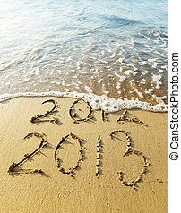 New Year 2013 is coming concept - inscription 2012 and 2013...