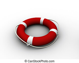 Life buoy 2 - Red and white life buoy on white background -...