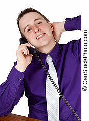 Relaxed conversational partner - Young businessman calling...