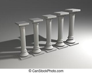 Columns diagram - Conceptual ionic-style Greek columns - 3d...