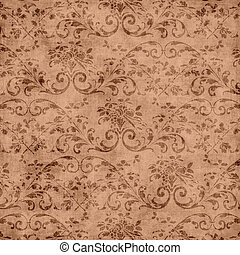 Brown Floral Tapestry Pattern - Worn brown floral tapestry...