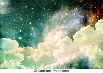 Heavenly View - A photobased cloudscape with clouds, stars...