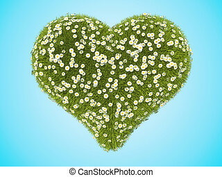 Green grass heart shape with camomile flowers over blue